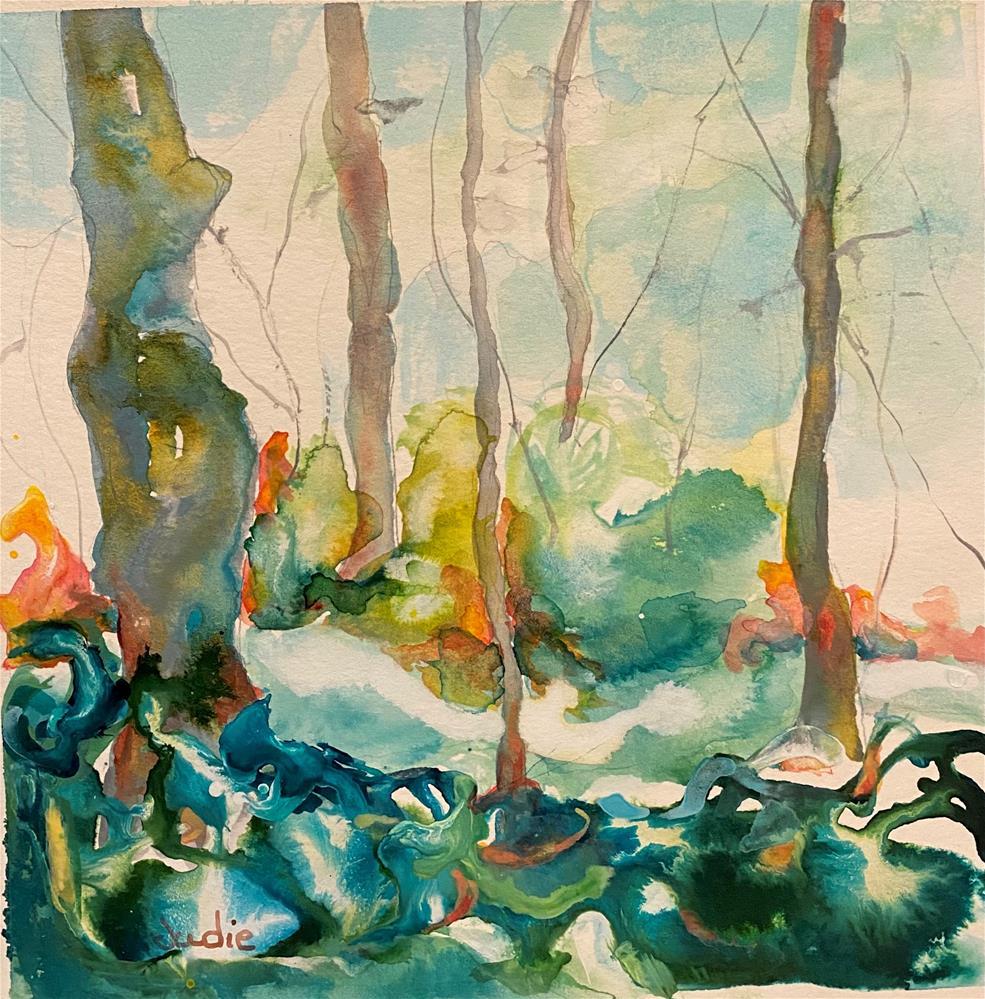 """""""Colorful Creek"""" original fine art by Judie Mulkey"""