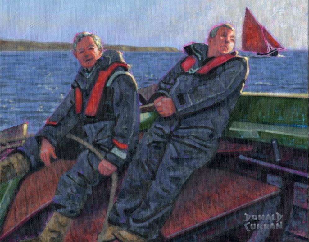 """""""Irish Sailors"""" original fine art by Donald Curran"""