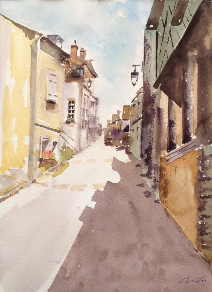 """Through the Village, France"" original fine art by Lisa Fu"