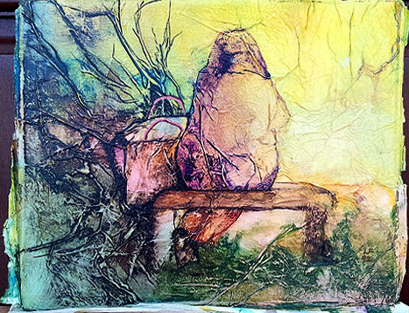 """Zen Inspired Park Bench Watercolor on Tissue"" original fine art by lynne french"