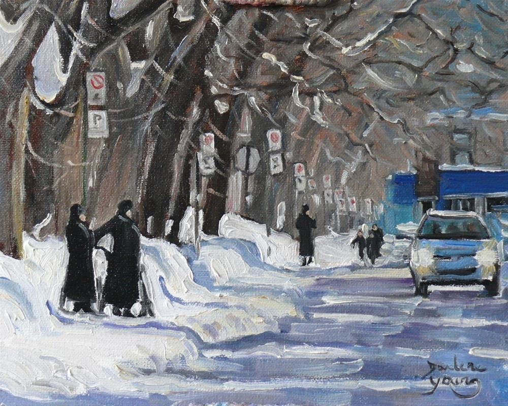 """""""921 Montreal Winter Scene, Outremont, oil on board 8x10"""" original fine art by Darlene Young"""