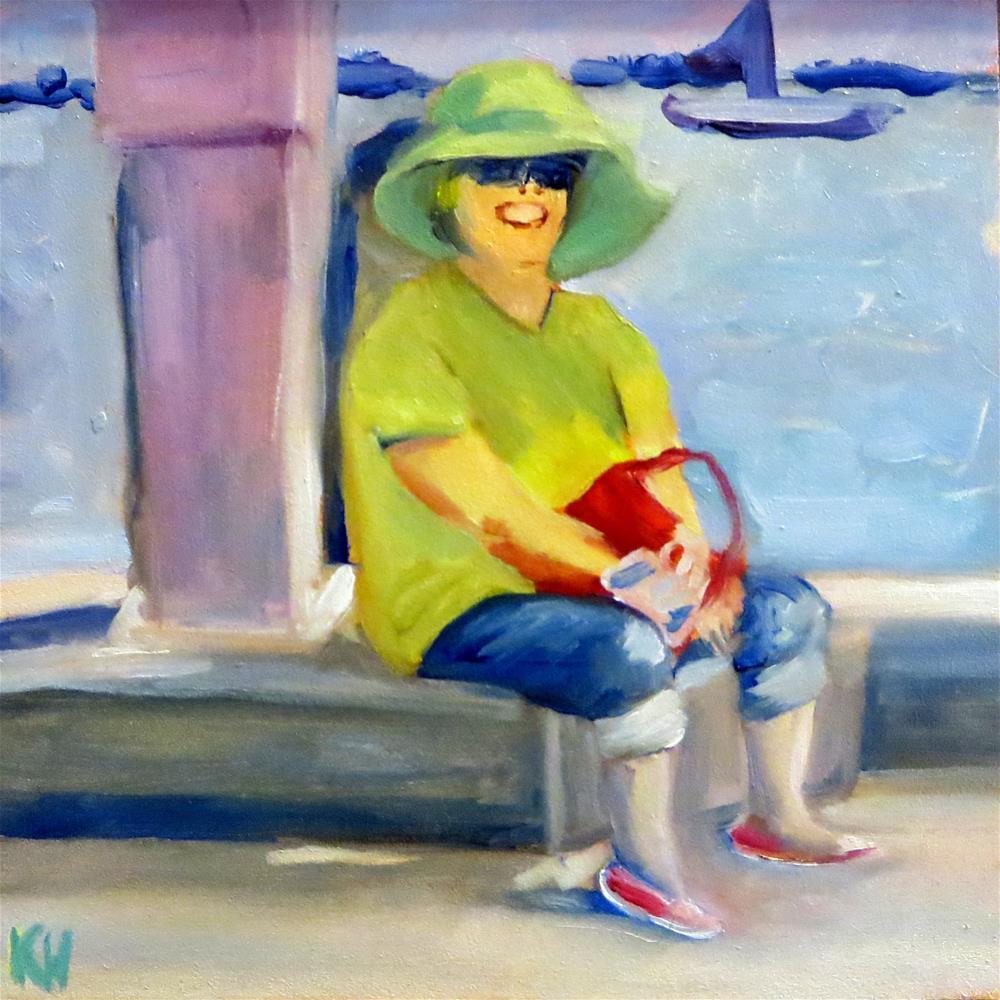 """Mom By The Sea"" original fine art by Katherine Hambley"