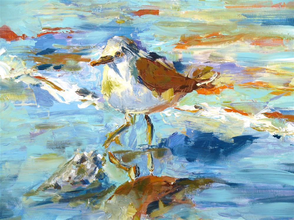 """The Sandpiper (with palette knife)"" original fine art by Susan Elizabeth Jones"
