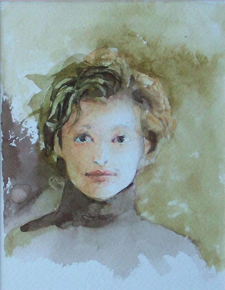"""""""Watercolor Portrait,portrait,watercolor on paper,7x5,priceNFS"""" original fine art by Joy Olney"""