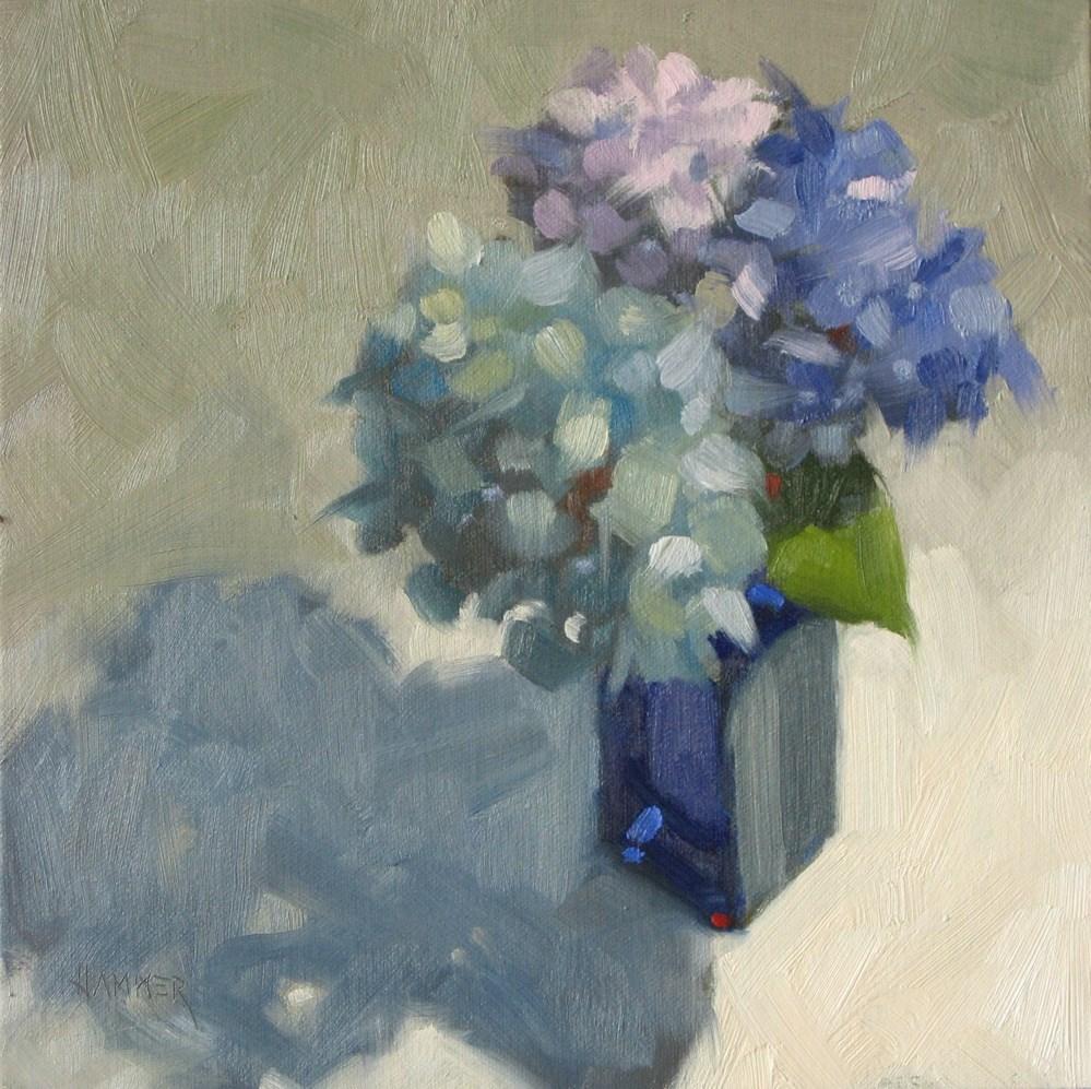 """""""Study in blue 8x8 oil"""" original fine art by Claudia Hammer"""