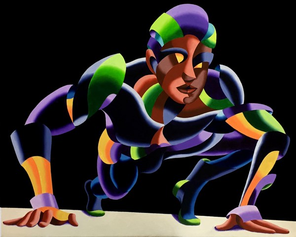 """""""Mark Webster - Dave 11.04 - Abstract Geometric Futurist Figurative Oil Painting"""" original fine art by Mark Webster"""