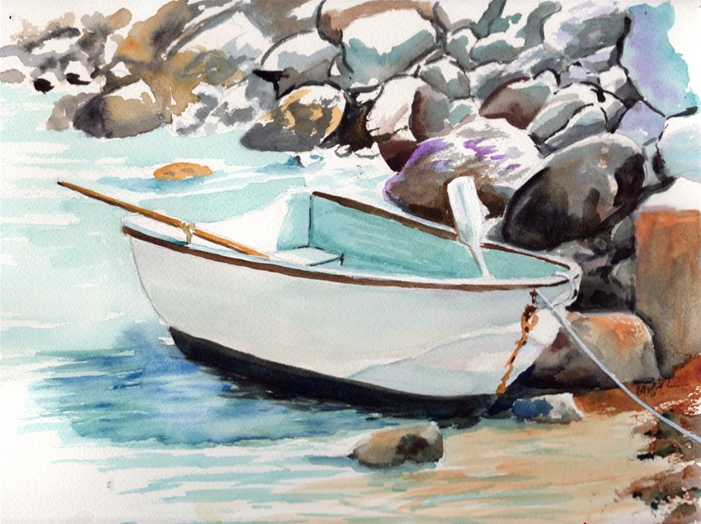 """""""Boat and Rocky Shore"""" original fine art by Bunny Griffeth"""