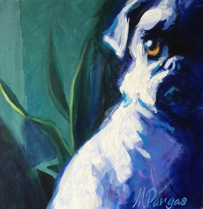 """""""Periwinkle Pug"""" original fine art by Mary Pargas"""