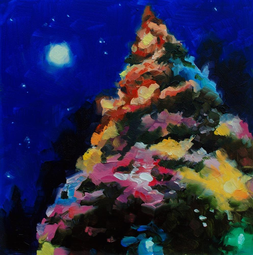 """No. 538 Snow, Christmas Lights and the Moon"" original fine art by Susan McManamen"