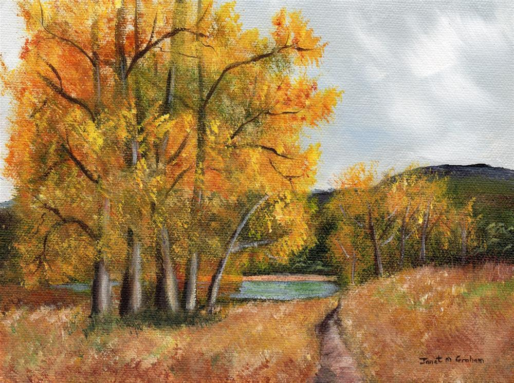 """Autumn Lake"" original fine art by Janet Graham"