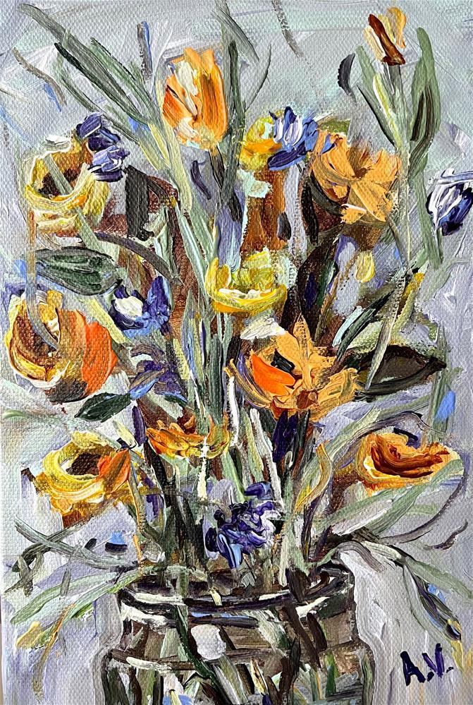 """""""Floral"""" original fine art by Alina Vidulescu"""