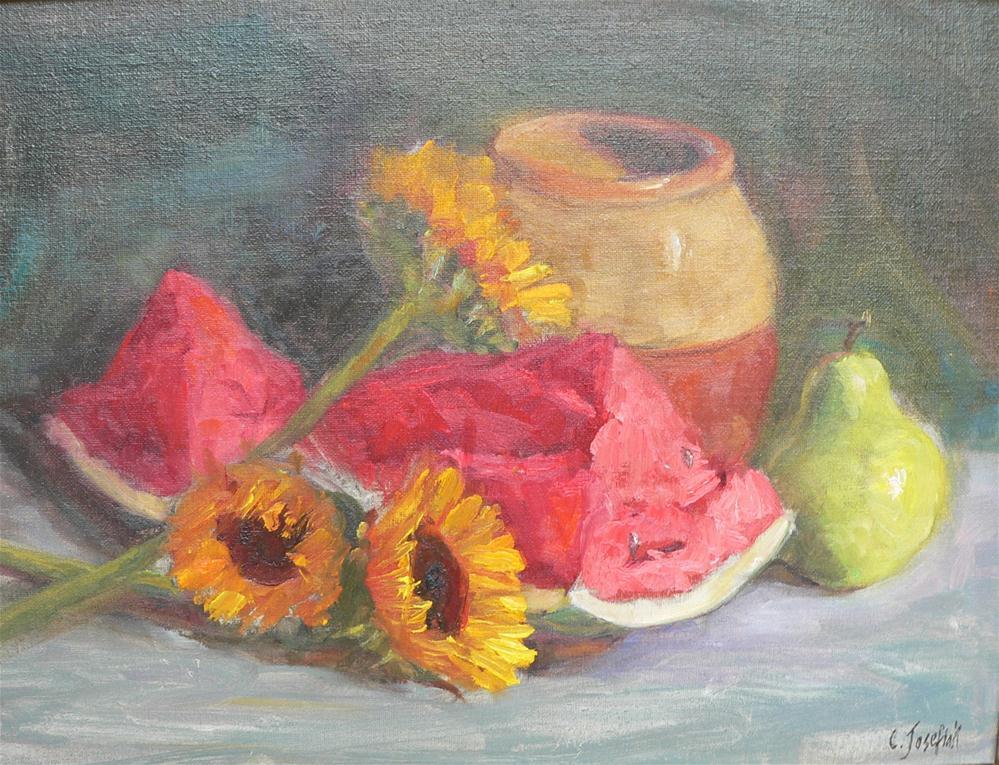 """Watermelon and sunflowers"" original fine art by Carol Josefiak"