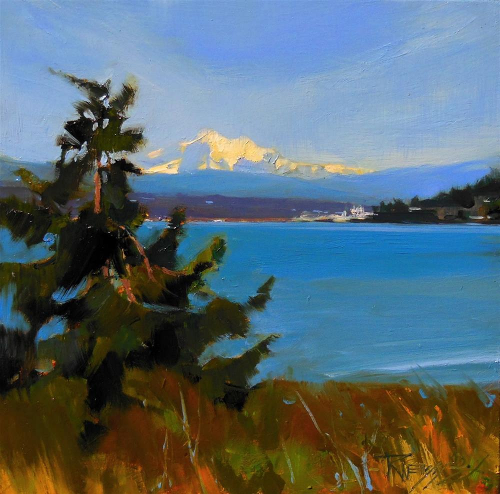 """Mt. Baker from Anacortes  plein air , oil , landscape painting by Robin Weiss"" original fine art by Robin Weiss"