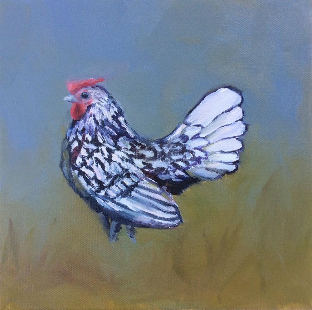 """Silver Sebright Cockerel"" original fine art by Jenny Kinberg"