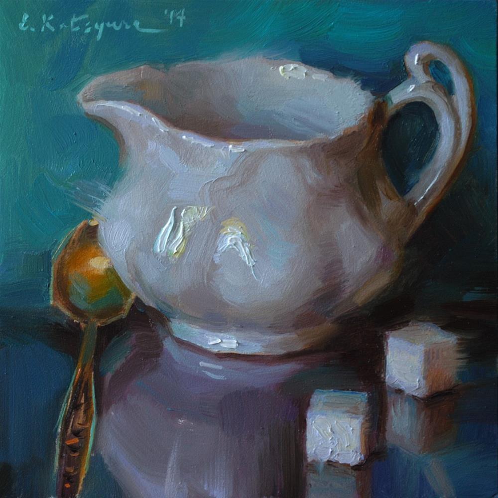"""White on Turquoise"" original fine art by Elena Katsyura"