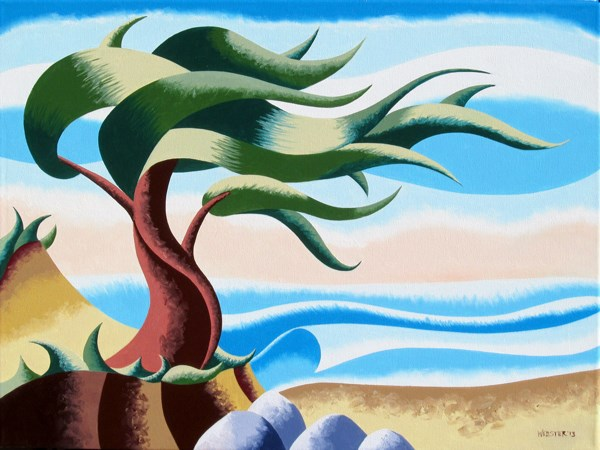 """Mark Webster - Abstract Geometric Cypress Tree Ocean Seascape Oil Painting 18x24"" original fine art by Mark Webster"