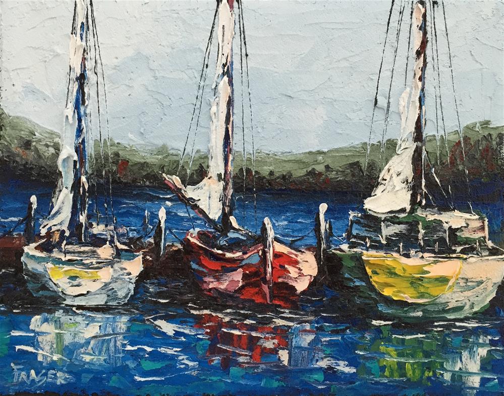 """Three At The Dock"" original fine art by Ken Fraser"