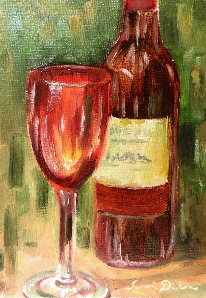 """""""Red Wine and Glass"""" original fine art by Tammie Dickerson"""