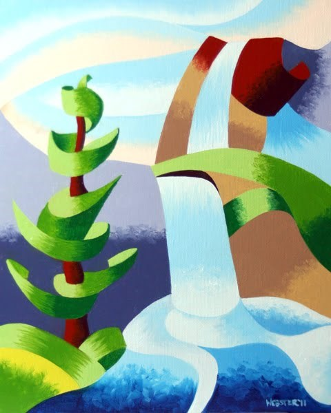 """""""Mark Webster - Abstract Waterfall with Pine Tree Landscape Oil Painting"""" original fine art by Mark Webster"""