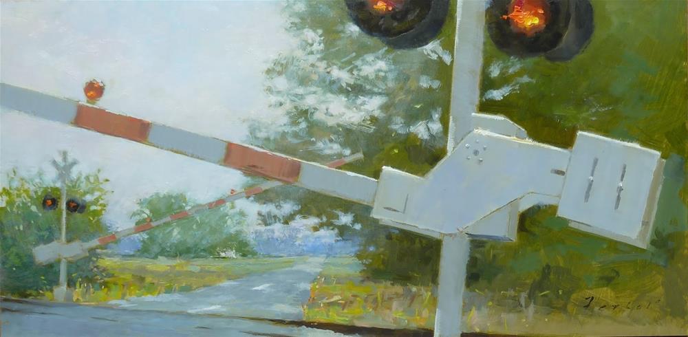 """""""Rural Rail Crossing"""" original fine art by Ron Ferkol"""