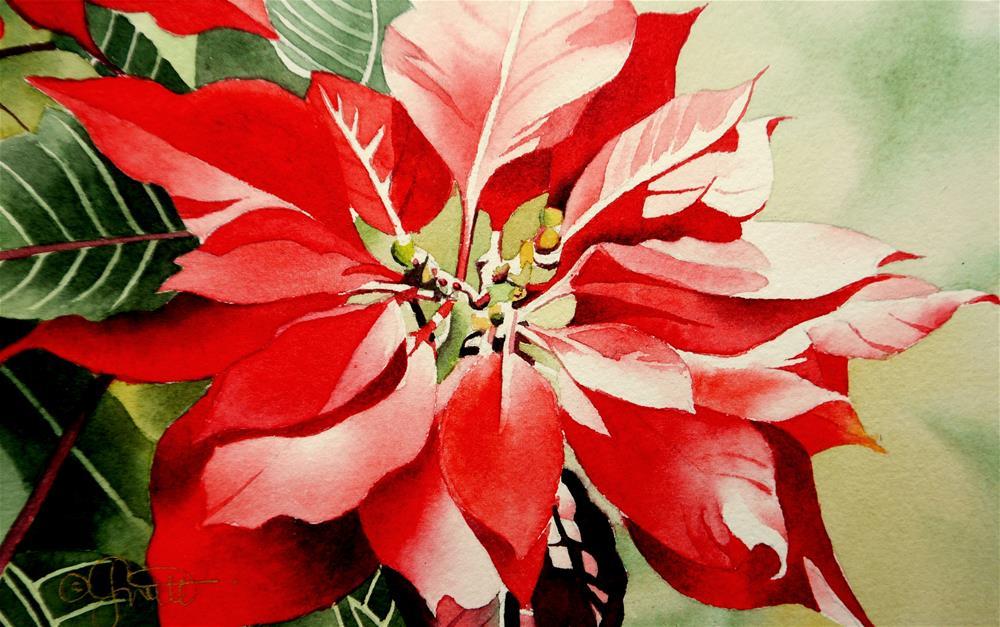 """Red Poinsettia"" original fine art by Jacqueline Gnott, TWSA, WHS"