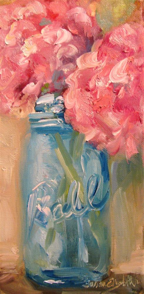 """""""Pink Hydrangeas in Blue Jar"""" original fine art by Susan Elizabeth Jones"""