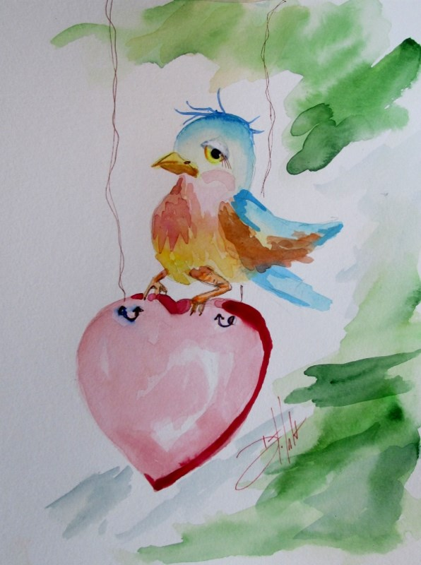 """""""Blue Bird and Heary"""" original fine art by Delilah Smith"""