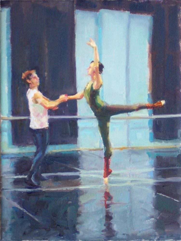 """Dance Recital,figures,oil on canvas,12x9,price$795"" original fine art by Joy Olney"