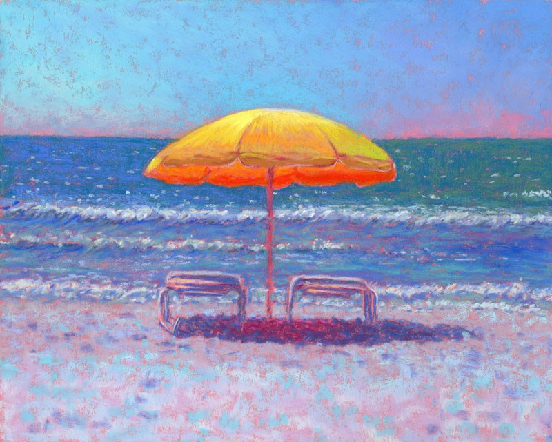 """St Pete Beach Yellow Umbrella Seascape by Poucher"" original fine art by Nancy Poucher"