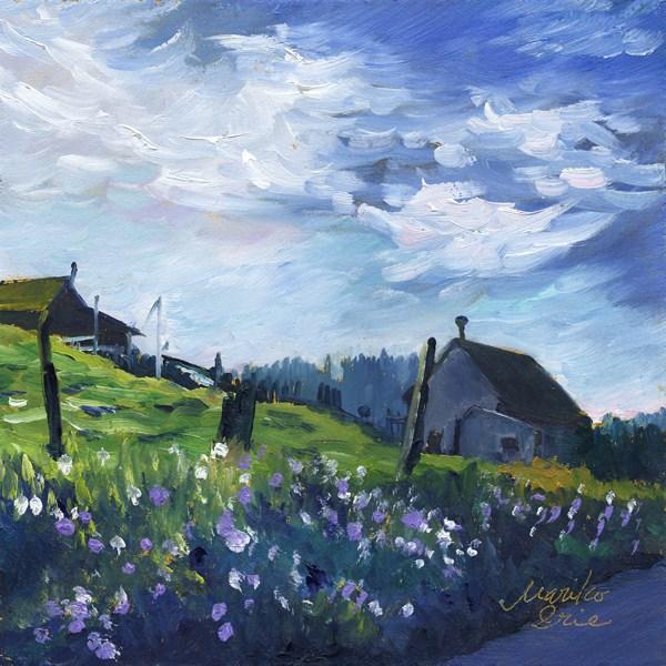 """Rustic Cabins in the Morning"" original fine art by Mariko Irie"