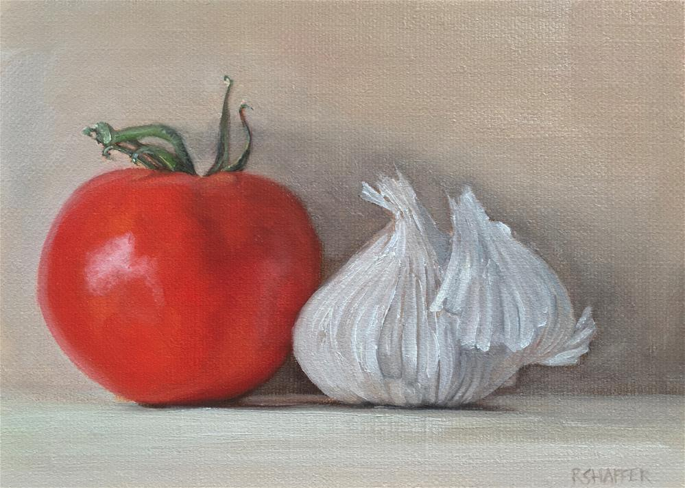 """Vine Ripened Tomato and Garlic Bulb"" original fine art by Renay Shaffer"