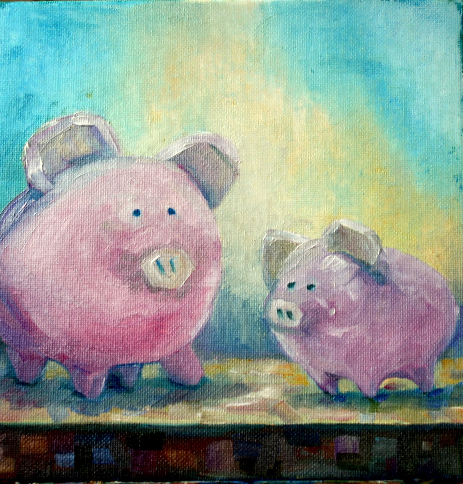 """Paint Your Pig"" original fine art by Maggie Flatley"