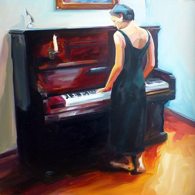 """""""Am Klavier"""" original fine art by Jurij Frey"""