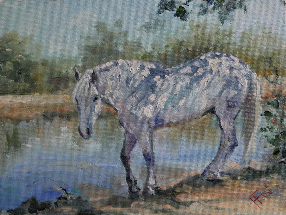 """""""White Horse Shadows"""" original fine art by H.F. Wallen"""