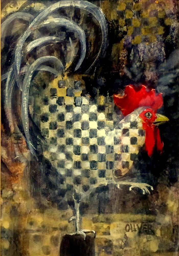 """""""Rooster With A Checkered Past"""" original fine art by Julie Ford Oliver"""
