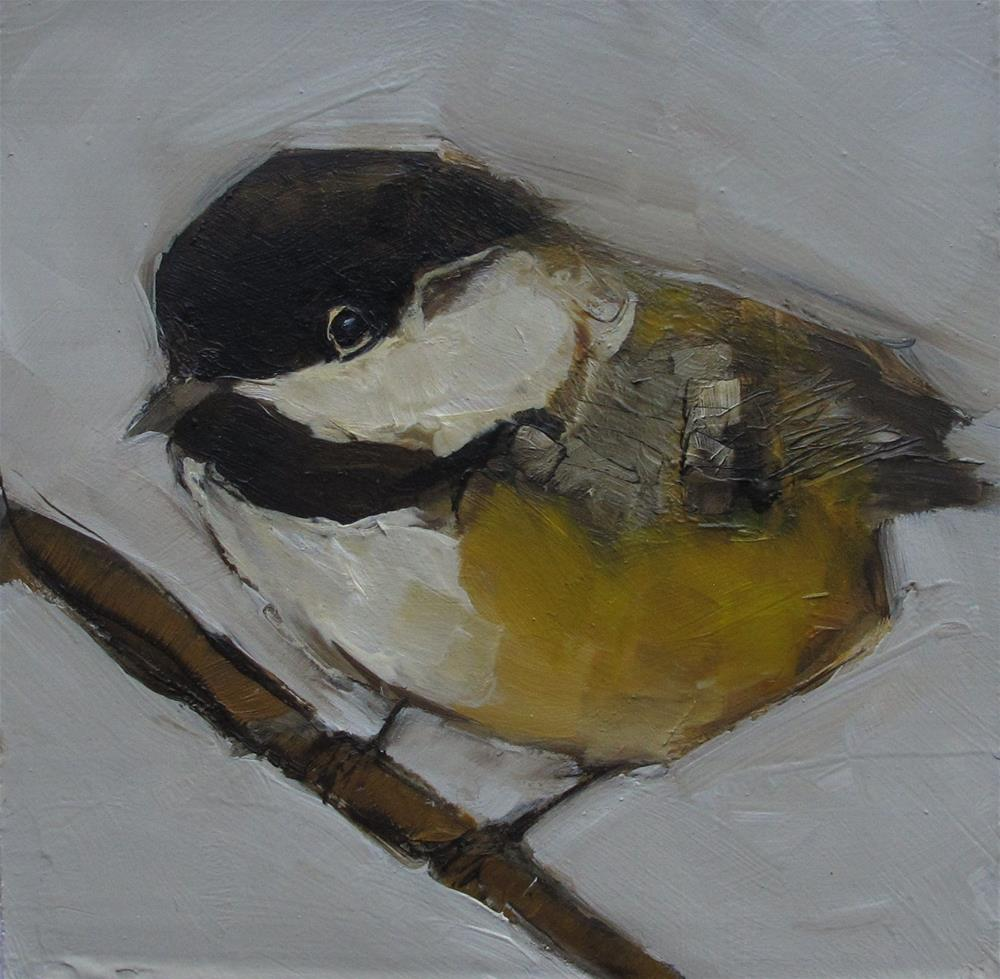 """CHICKADEE BIRD Original FOLK WHIMSICAL Art Colette Davis Art Painting OIL"" original fine art by Colette Davis"