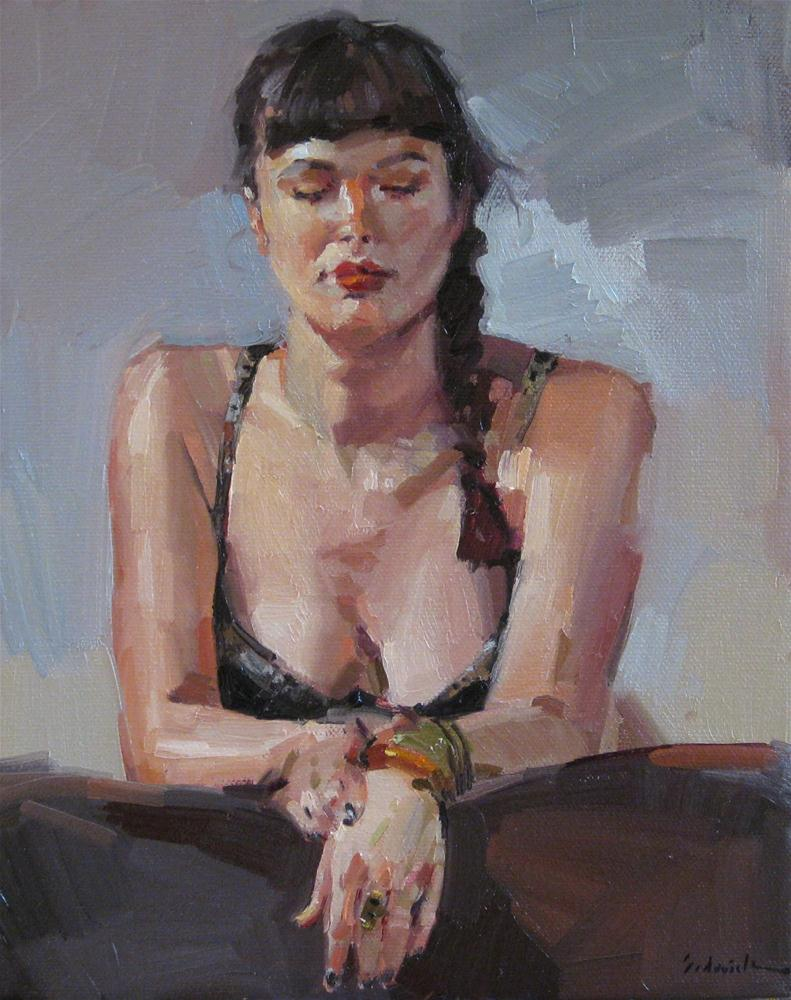 """The Leopard-Print Bra female figure painting portrait art oil painting"" original fine art by Sarah Sedwick"