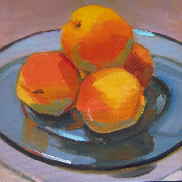 """Apricots on Blue Glass Plate"" original fine art by Robin Rosenthal"