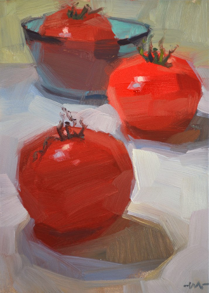"""Tomatoes Three"" original fine art by Carol Marine"