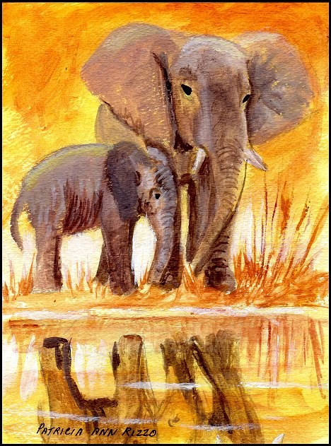 """Elephants"" original fine art by Patricia Ann Rizzo"