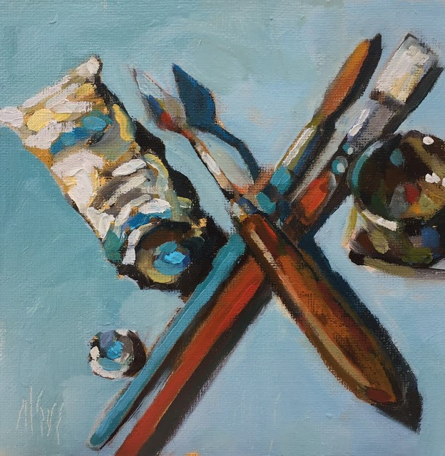 """""""Tools Too  the tools of my trade. 6x6 oil on canvas panel"""" original fine art by Mary Sheehan Winn"""