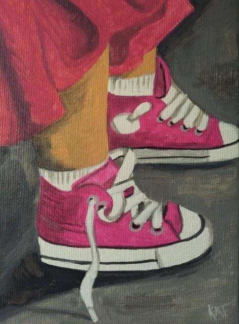 """Steps in Pink"" original fine art by Kathleen Carrier"