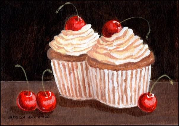 """Whip Cream and Cherries Cupcakes"" original fine art by Patricia Ann Rizzo"