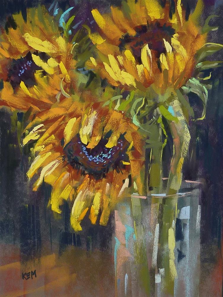 """Tips for Painting Sunflowers!"" original fine art by Karen Margulis"