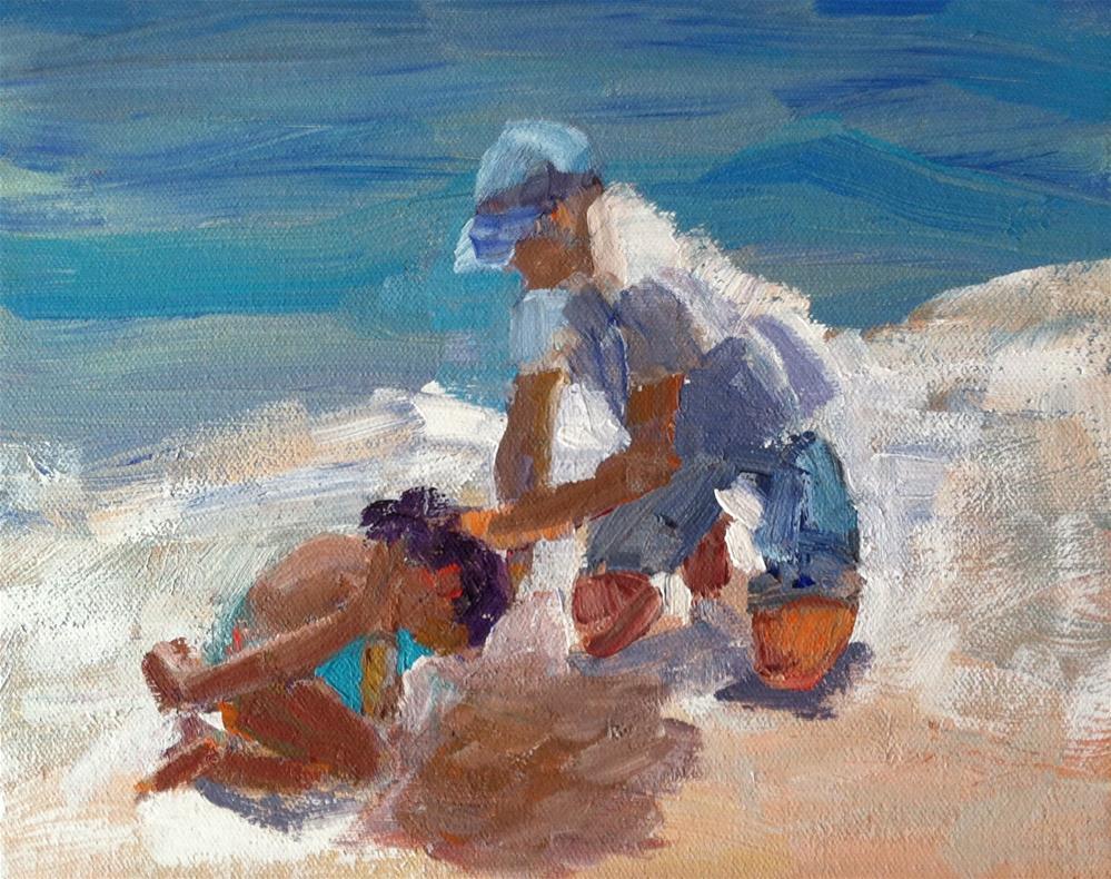 """Figurative Beach Scene"" original fine art by Christine Parker"