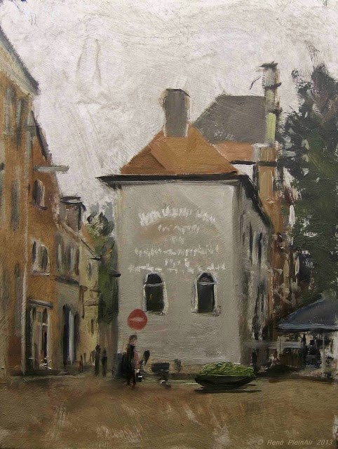 """Caffee Friends from the past. Deventer, Holland."" original fine art by René PleinAir"