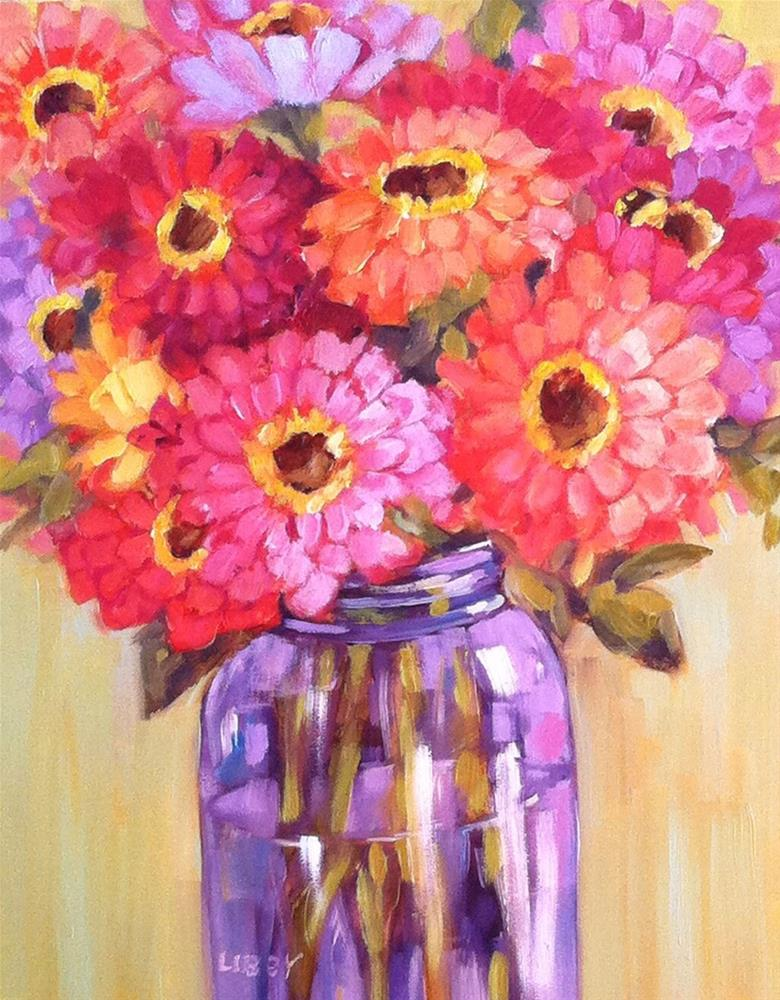 """Purple bottle and Zinnias"" original fine art by Libby Anderson"