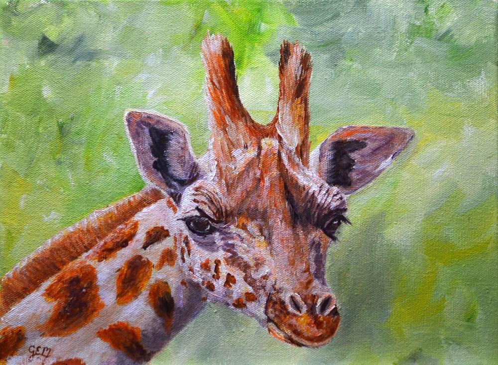 """Girafie Nancy"" original fine art by Gloria Ester"