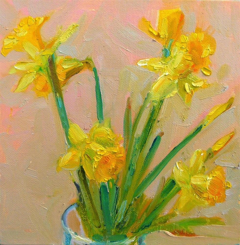 """Dancing Daffodils,still life,oil on canvas,8x8,price$200"" original fine art by Joy Olney"