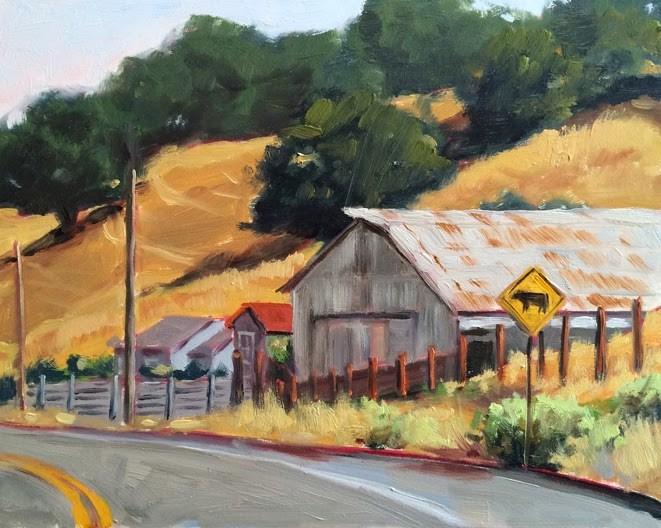 """Along a Country Road"" original fine art by Deborah Newman"